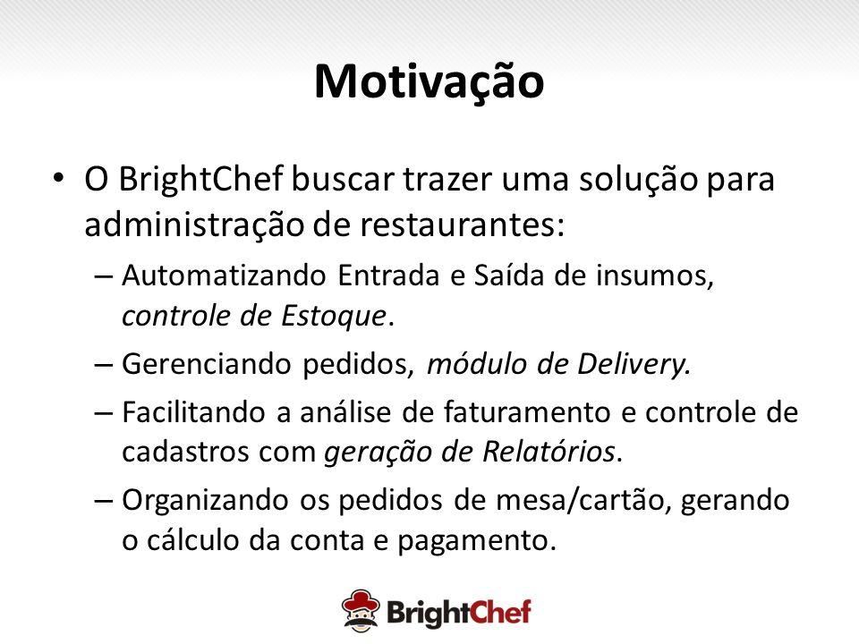 Motivação • O BrightChef buscar trazer uma solução para administração de restaurantes: – Automatizando Entrada e Saída de insumos, controle de Estoque.