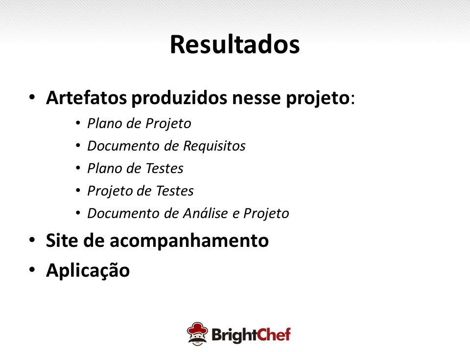 Resultados • Artefatos produzidos nesse projeto: • Plano de Projeto • Documento de Requisitos • Plano de Testes • Projeto de Testes • Documento de Análise e Projeto • Site de acompanhamento • Aplicação