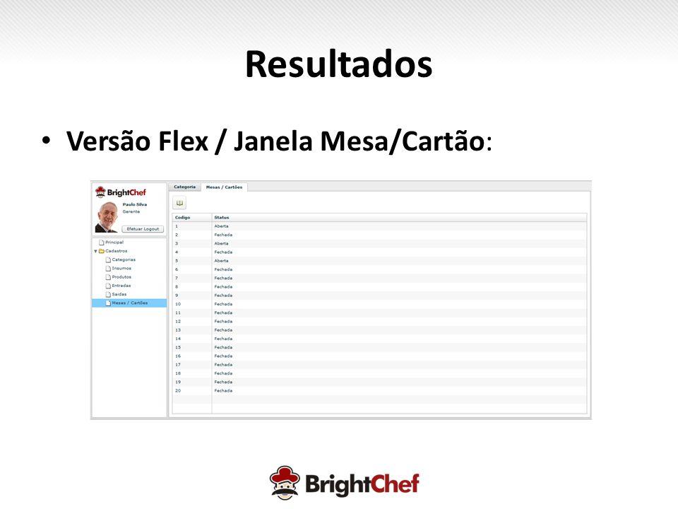 Resultados • Versão Flex / Janela Mesa/Cartão: