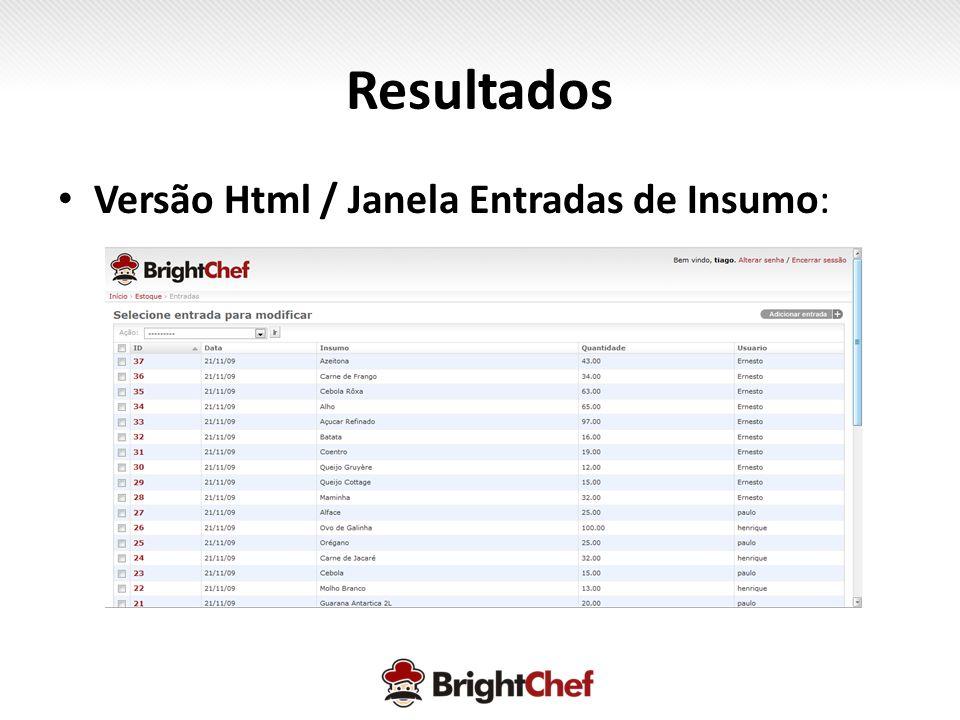 Resultados • Versão Html / Janela Entradas de Insumo: