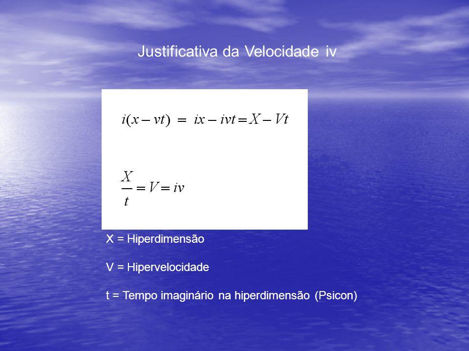 Justificativa da Velocidade iv X = Hiperdimensão V = Hipervelocidade t = Tempo imaginário na hiperdimensão (Psicon)