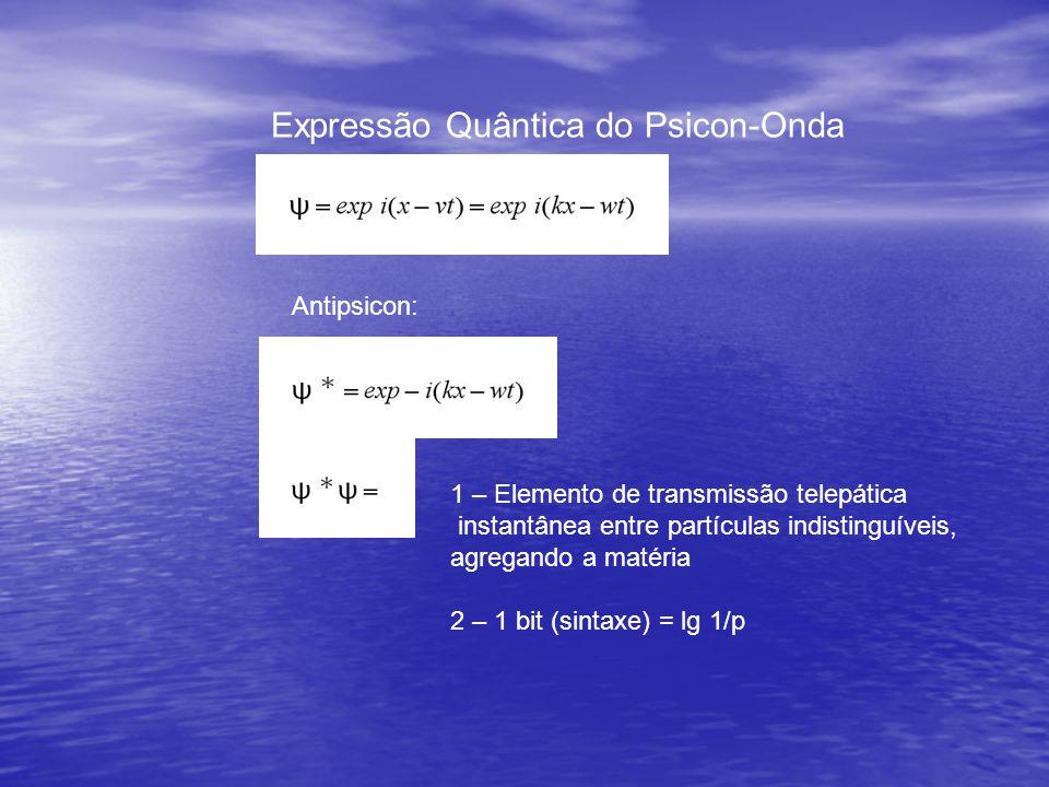 Expressão Quântica do Psicon-Onda Antipsicon: 1 – Elemento de transmissão telepática instantânea entre partículas indistinguíveis, agregando a matéria