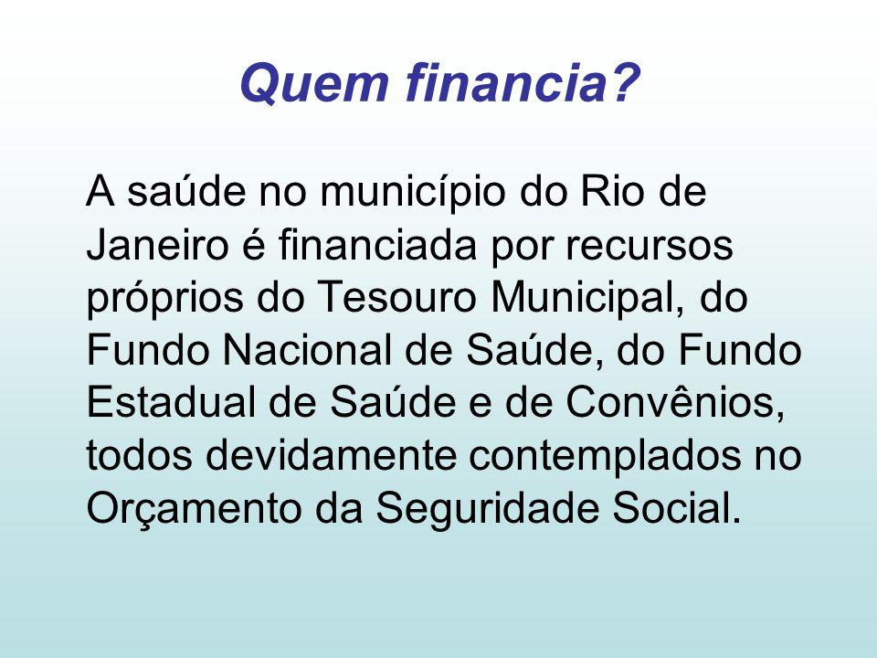 Quem financia? A saúde no município do Rio de Janeiro é financiada por recursos próprios do Tesouro Municipal, do Fundo Nacional de Saúde, do Fundo Es