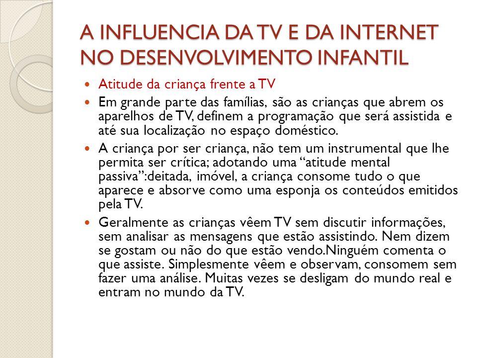 INFLUÊNCIA DA TV E DA INTERNET NO DESENVOLVIMENTO INFANTIL  Cont.