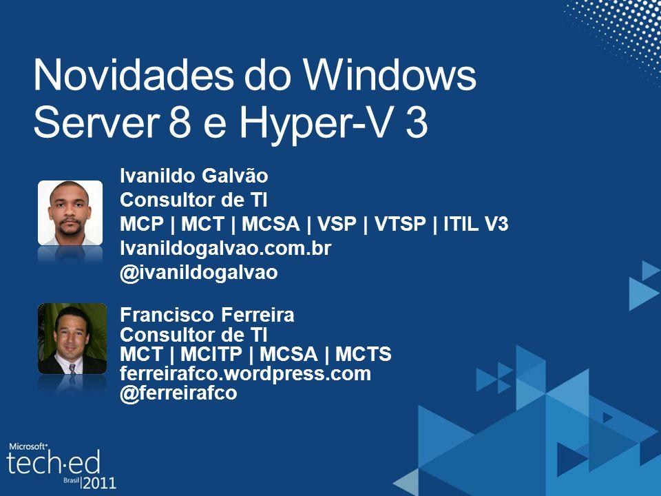 Hyper-V - Limites Hyper-V 2 Windows 2008 R2 Hyper V 3 Windows 8 Processadores por VMAté 4Até 32 Memória por VMAté 64GBAté 512GB Tamanho do disco na VM Até 2TB (VHD) Até 16TB (VHDX) Processadores por HostAté 64Até 160 Memória por HostAté 1TBAté 2TB Nós de ClusterAté 16Até 63 Vms por nó de ClusterAté 384Até 400 Live Migration com Storage Live Migration sem Storage Replica de VMs sem storage