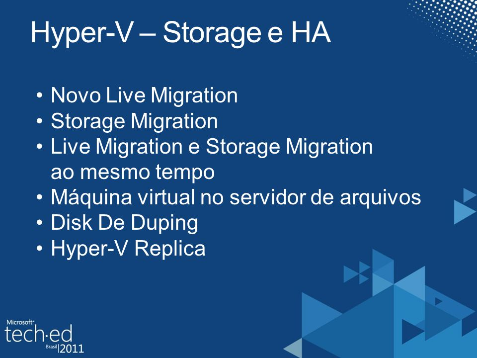 Hyper-V – Storage e HA