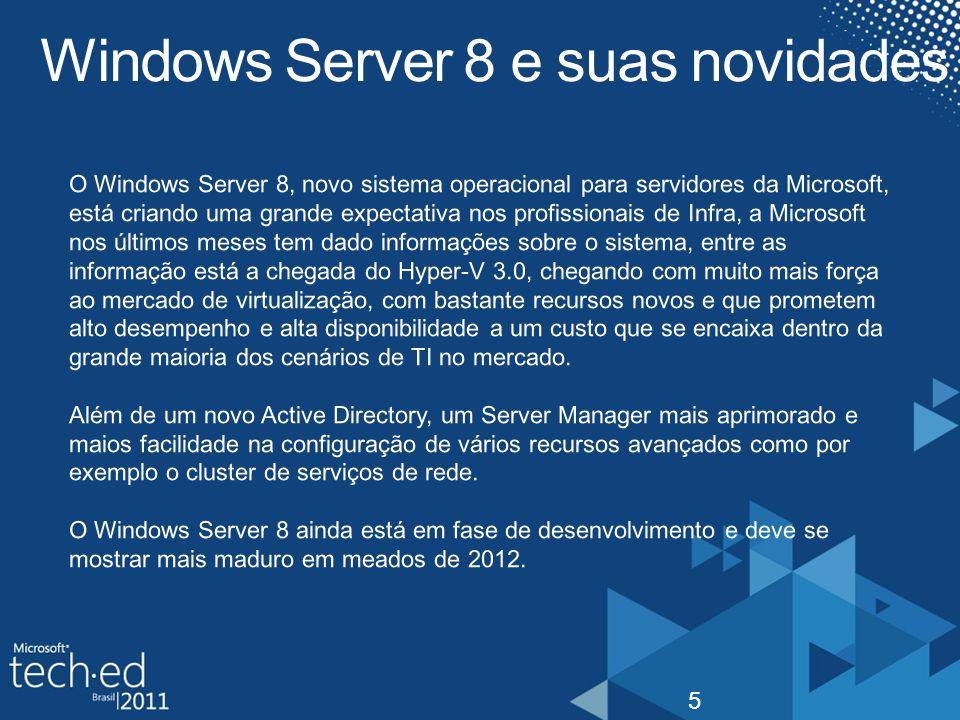 Tipos de instalação 6 O Windows Server 8 pode ser instalado de três formas, em modo completo, em modo Server Core (sem ambiente gráfico) e modo Features sob Demanda.