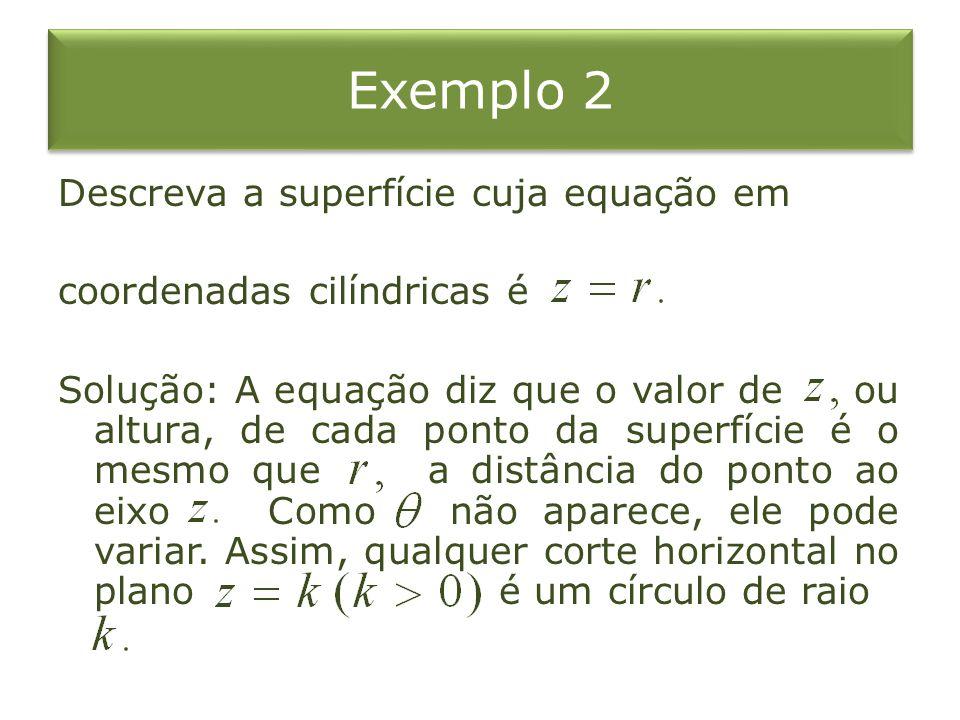 Exemplo 2 Descreva a superfície cuja equação em coordenadas cilíndricas é Solução: A equação diz que o valor de ou altura, de cada ponto da superfície