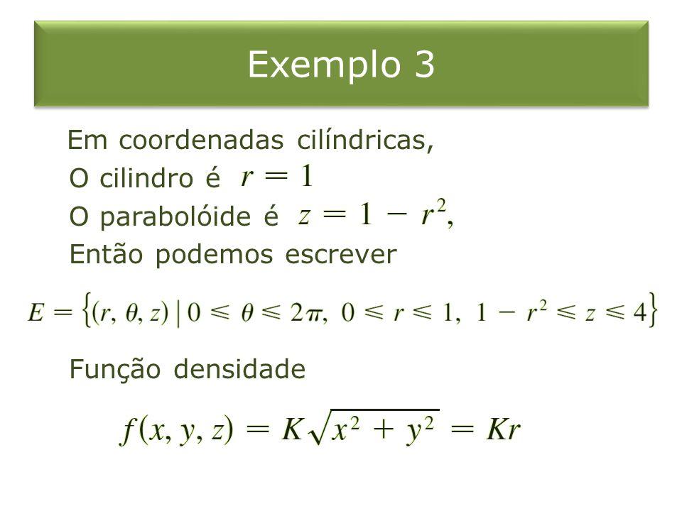 Em coordenadas cilíndricas, O cilindro é O parabolóide é Então podemos escrever Função densidade