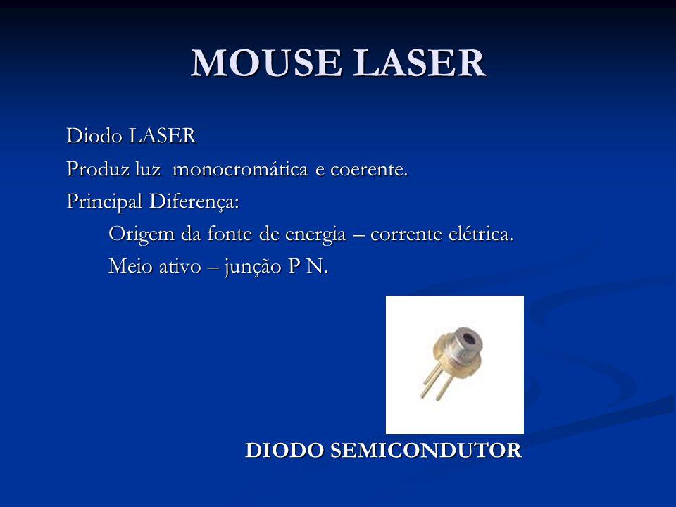 Diodo LASER Produz luz monocromática e coerente. Principal Diferença: Origem da fonte de energia – corrente elétrica. Meio ativo – junção P N. MOUSE L