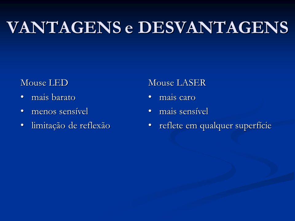 VANTAGENS e DESVANTAGENS Mouse LED • mais barato • menos sensível • limitação de reflexão Mouse LASER • mais caro • mais sensível • reflete em qualquer superfície