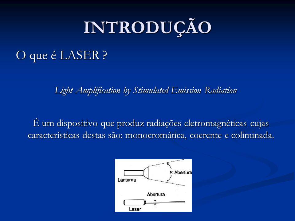 INTRODUÇÃO O que é LASER ? Light Amplification by Stimulated Emission Radiation É um dispositivo que produz radiações eletromagnéticas cujas caracterí