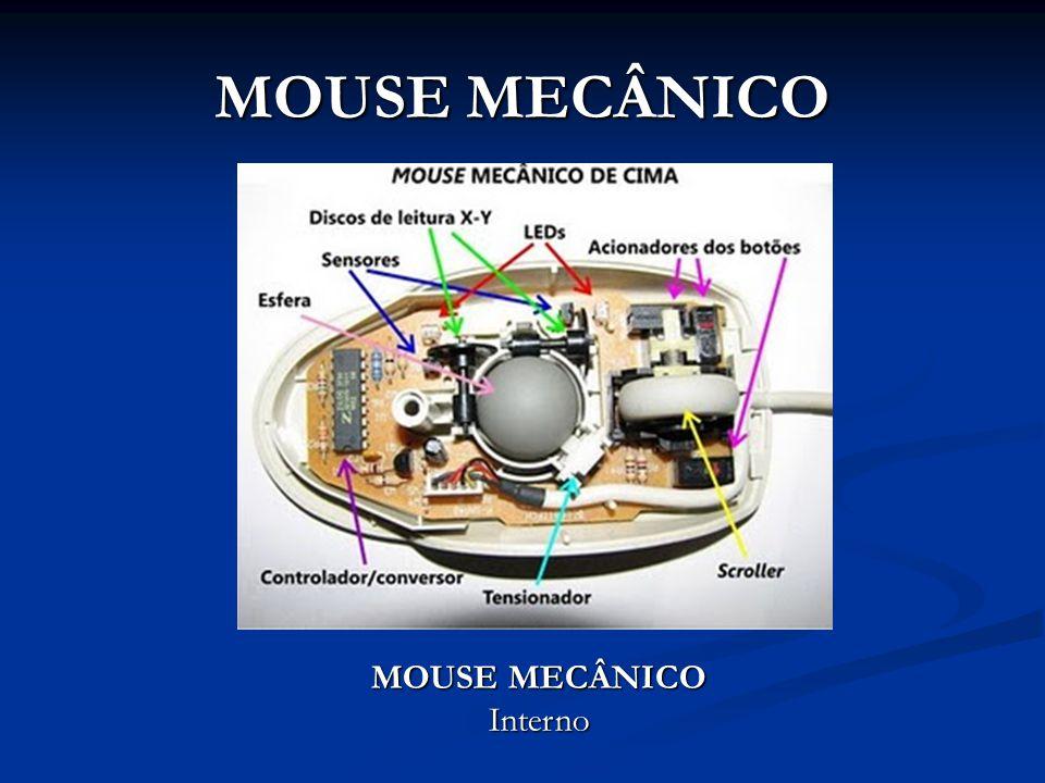 MOUSE MECÂNICO 3- Os discos maiores são os codificadores e possuem furos em linha pela borda; 4- LED infravermelhos emitem luz em direção aos furos dos discos decodificadores; 5- Sensores do outro lado dos discos decodificadores captam o pulsar de luz que são então convertidos em velocidades de movimento X e Y.