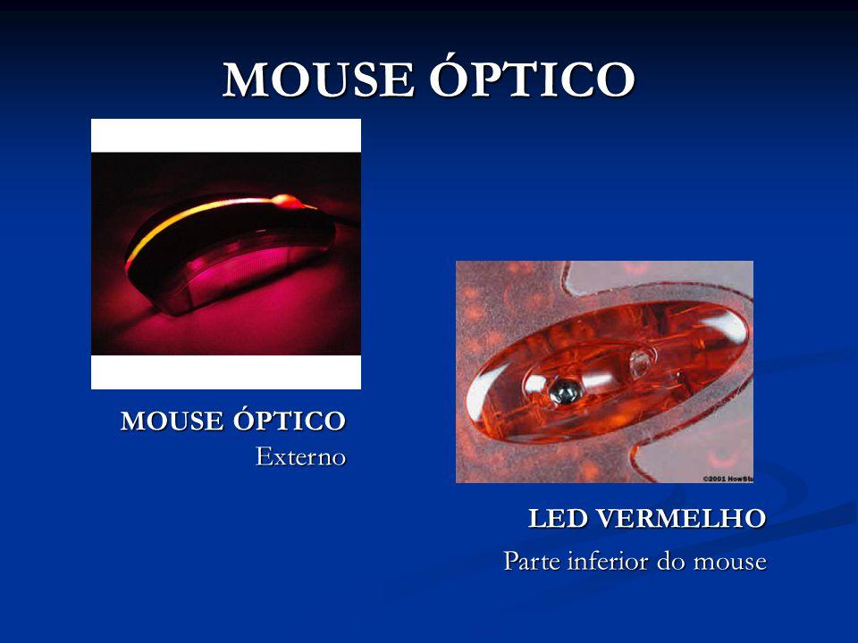 Mouses ópticos utilizam um LED (Light Emission Diode) para captar o movimento ocorrido na superfície abaixo do mouse.