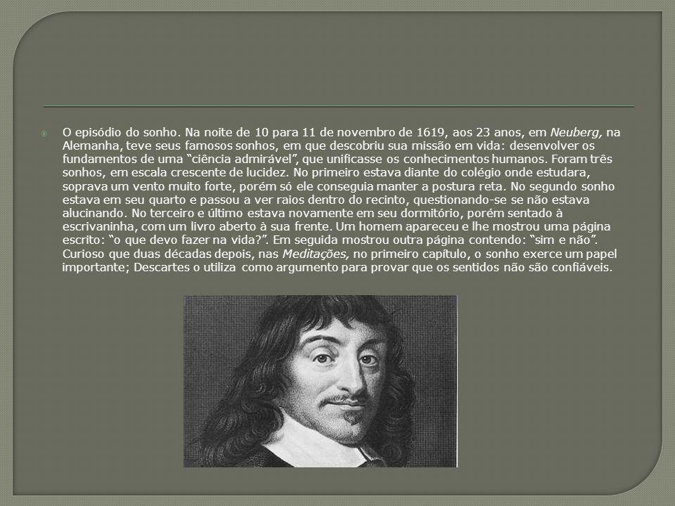  O episódio do sonho. Na noite de 10 para 11 de novembro de 1619, aos 23 anos, em Neuberg, na Alemanha, teve seus famosos sonhos, em que descobriu su
