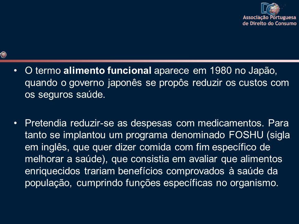 •O termo alimento funcional aparece em 1980 no Japão, quando o governo japonês se propôs reduzir os custos com os seguros saúde. •Pretendia reduzir-se