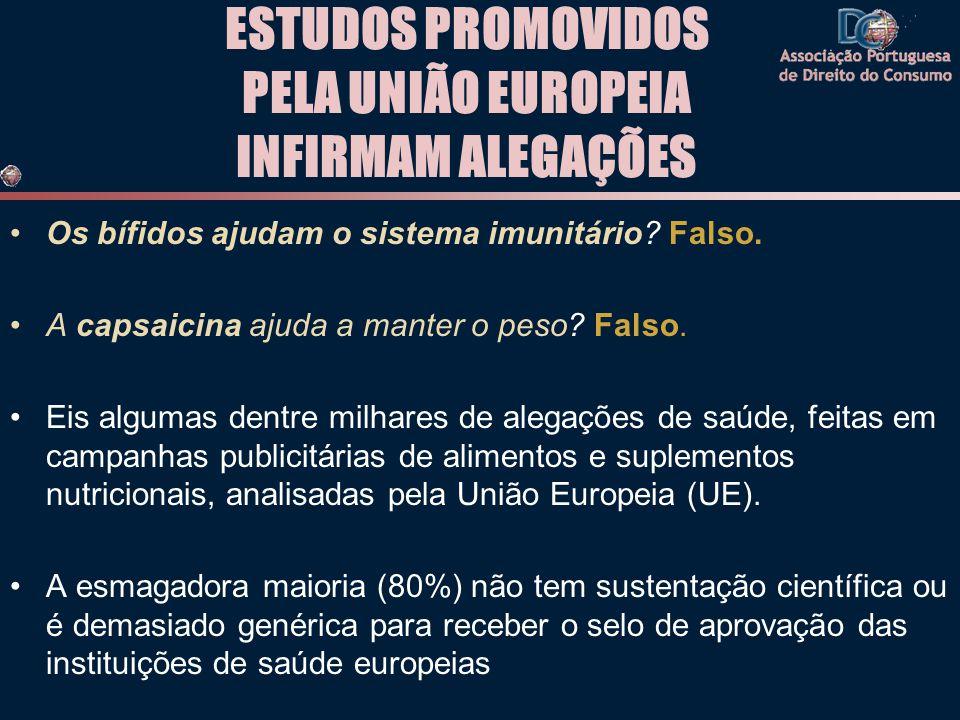 ESTUDOS PROMOVIDOS PELA UNIÃO EUROPEIA INFIRMAM ALEGAÇÕES •Os bífidos ajudam o sistema imunitário? Falso. •A capsaicina ajuda a manter o peso? Falso.
