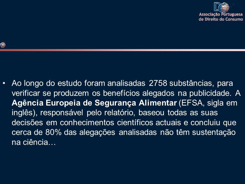 •Ao longo do estudo foram analisadas 2758 substâncias, para verificar se produzem os benefícios alegados na publicidade. A Agência Europeia de Seguran