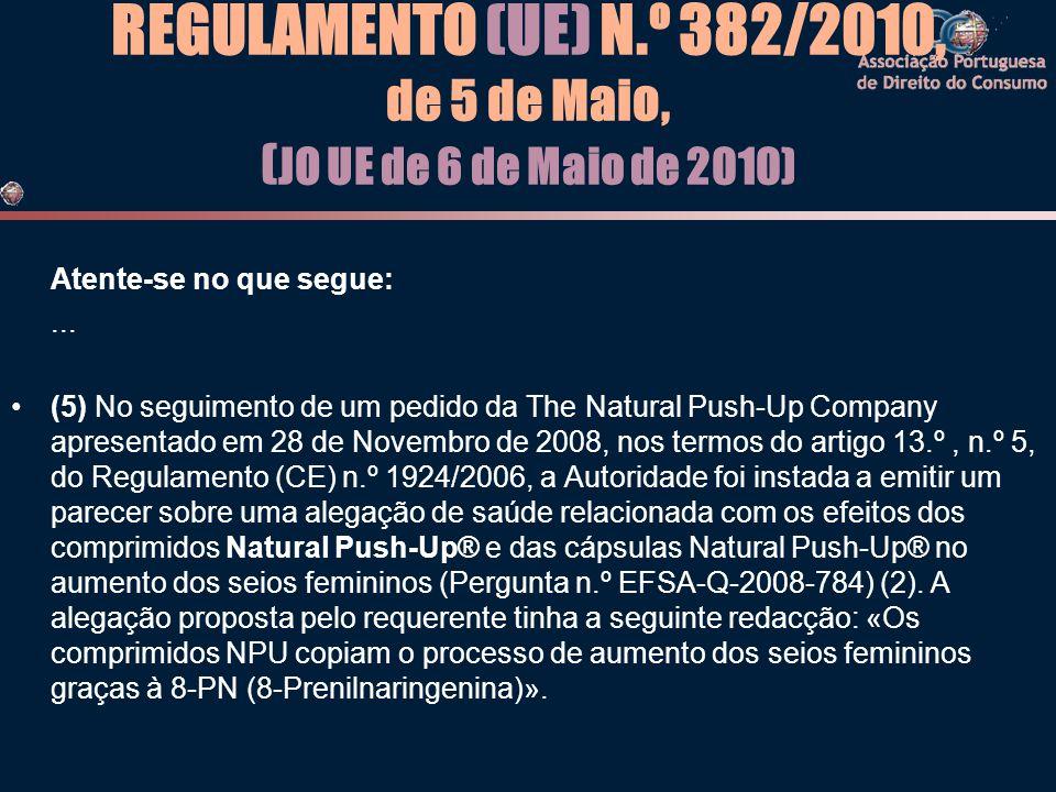 REGULAMENTO (UE) N.º 382/2010, de 5 de Maio, ( JO UE de 6 de Maio de 2010) Atente-se no que segue:... •(5) No seguimento de um pedido da The Natural P