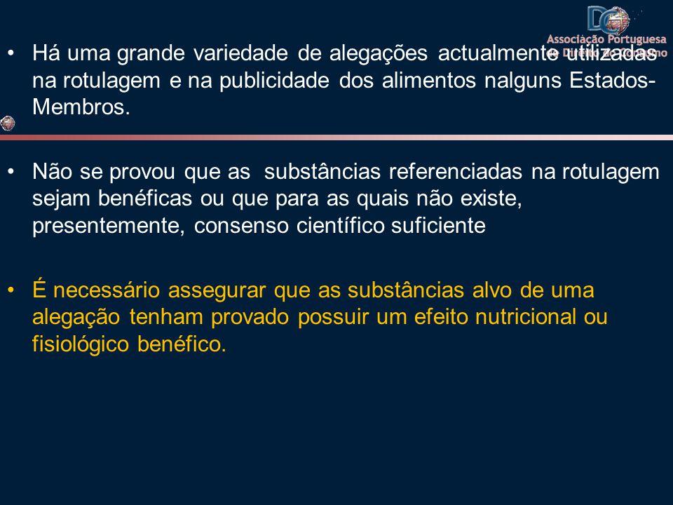 •Há uma grande variedade de alegações actualmente utilizadas na rotulagem e na publicidade dos alimentos nalguns Estados- Membros. •Não se provou que