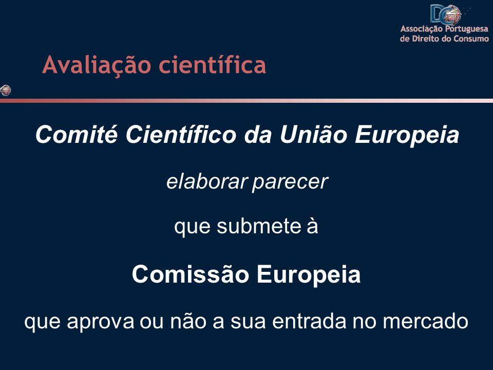 Avaliação científica Comité Científico da União Europeia elaborar parecer que submete à Comissão Europeia que aprova ou não a sua entrada no mercado