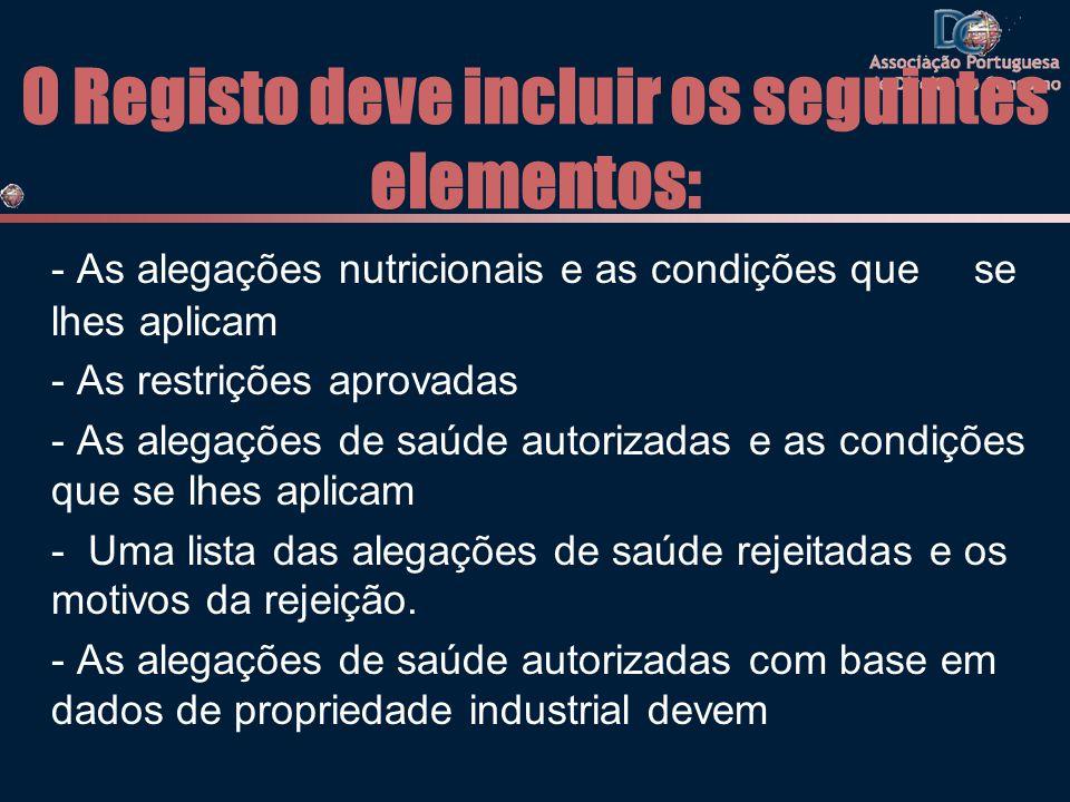 O Registo deve incluir os seguintes elementos: - As alegações nutricionais e as condições que se lhes aplicam - As restrições aprovadas - As alegações