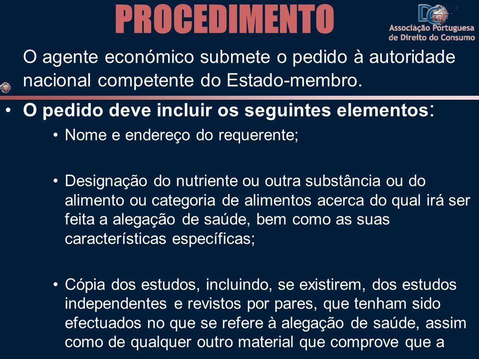PROCEDIMENTO O agente económico submete o pedido à autoridade nacional competente do Estado-membro. •O pedido deve incluir os seguintes elementos : •N