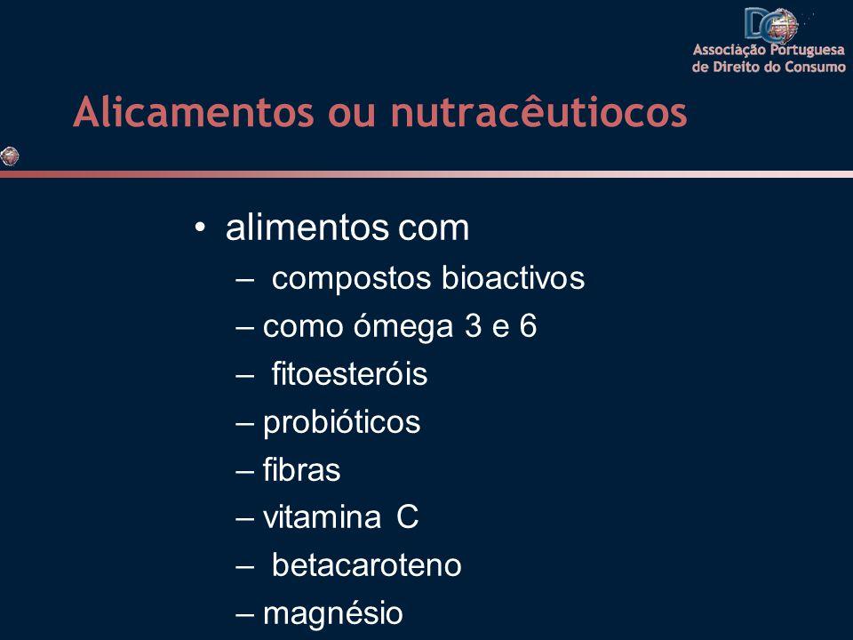 Alicamentos ou nutracêutiocos •alimentos com – compostos bioactivos –como ómega 3 e 6 – fitoesteróis –probióticos –fibras –vitamina C – betacaroteno –