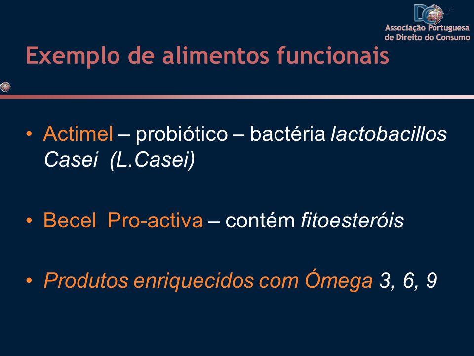 Exemplo de alimentos funcionais •Actimel – probiótico – bactéria lactobacillos Casei (L.Casei) •Becel Pro-activa – contém fitoesteróis •Produtos enriq