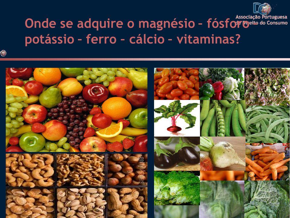 Onde se adquire o magnésio – fósforo – potássio – ferro – cálcio – vitaminas?