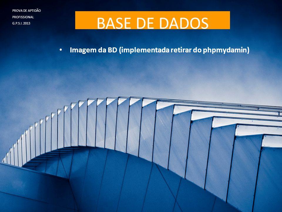 BASE DE DADOS • Imagem da BD (implementada retirar do phpmydamin) PROVA DE APTIDÃO PROFISSIONAL G.P.S.I. 2013