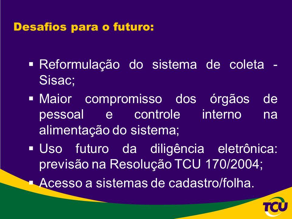 Desafios para o futuro:  Reformulação do sistema de coleta - Sisac;  Maior compromisso dos órgãos de pessoal e controle interno na alimentação do si