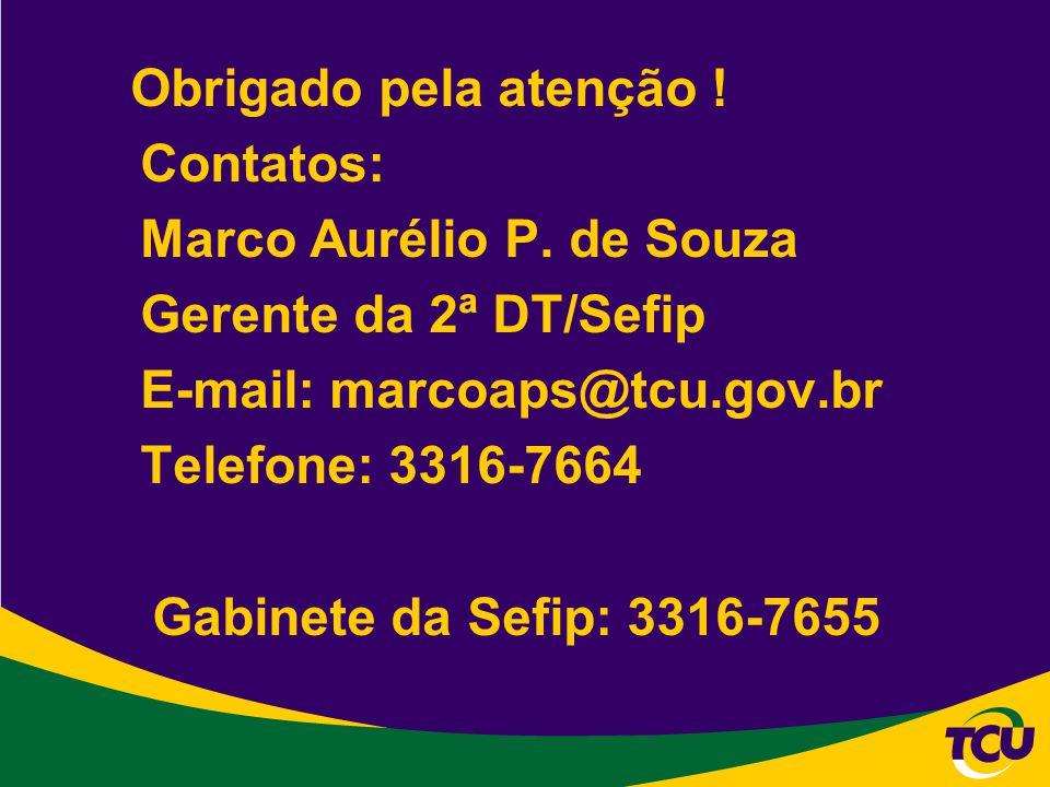 Obrigado pela atenção ! Contatos: Marco Aurélio P. de Souza Gerente da 2ª DT/Sefip E-mail: marcoaps@tcu.gov.br Telefone: 3316-7664 Gabinete da Sefip:
