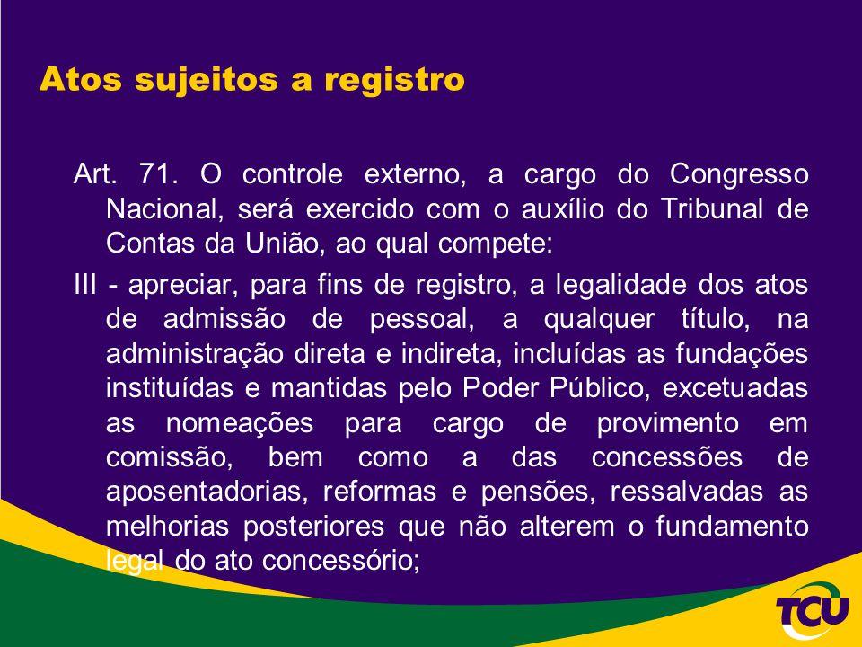 Atos sujeitos a registro - Histórico  Até 1992, os processos de concessão de aposentadoria, reforma e pensão civil, militar e de ex-combatente eram enviados diretamente pelo órgão de pessoal ao TCU.