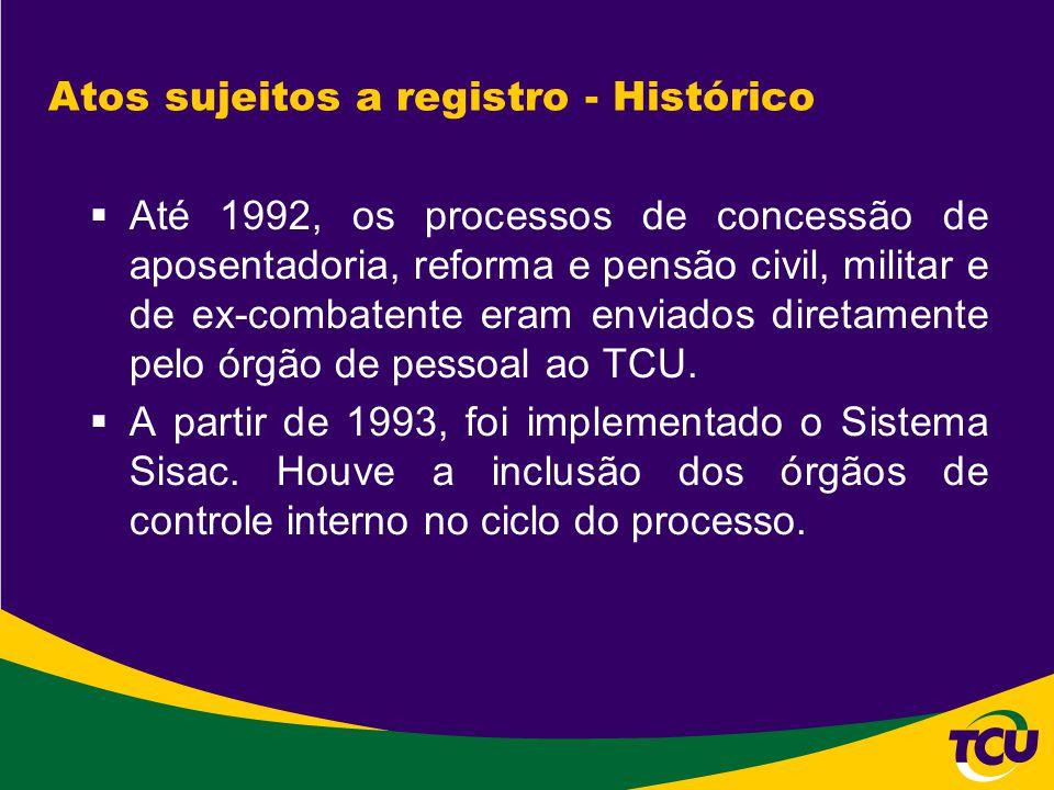 Atos sujeitos a registro - Histórico  Até 1992, os processos de concessão de aposentadoria, reforma e pensão civil, militar e de ex-combatente eram e