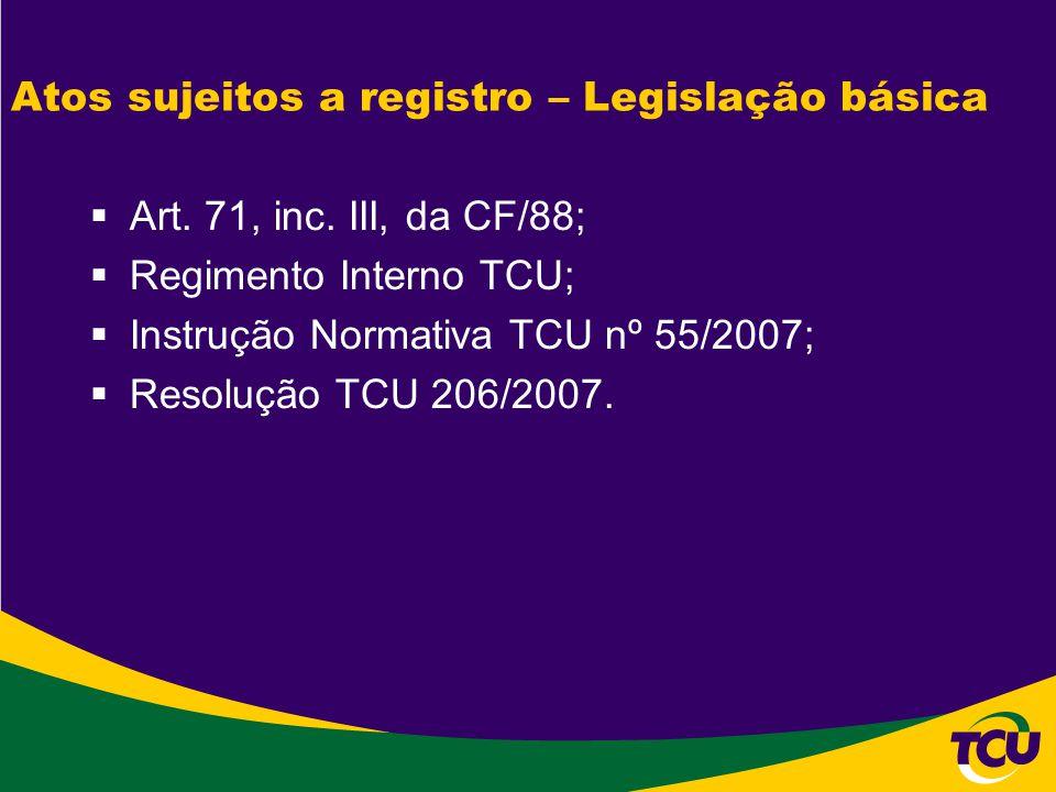Atos sujeitos a registro – Legislação básica  Art. 71, inc. III, da CF/88;  Regimento Interno TCU;  Instrução Normativa TCU nº 55/2007;  Resolução