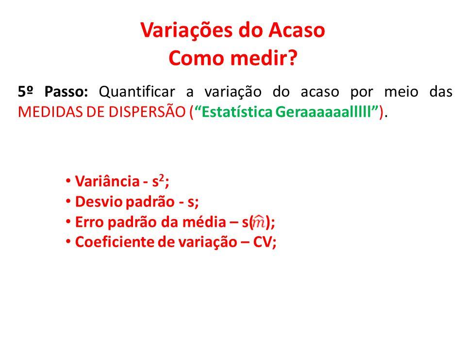 """Variações do Acaso Como medir? 5º Passo: Quantificar a variação do acaso por meio das MEDIDAS DE DISPERSÃO (""""Estatística Geraaaaaalllll""""). • Variância"""
