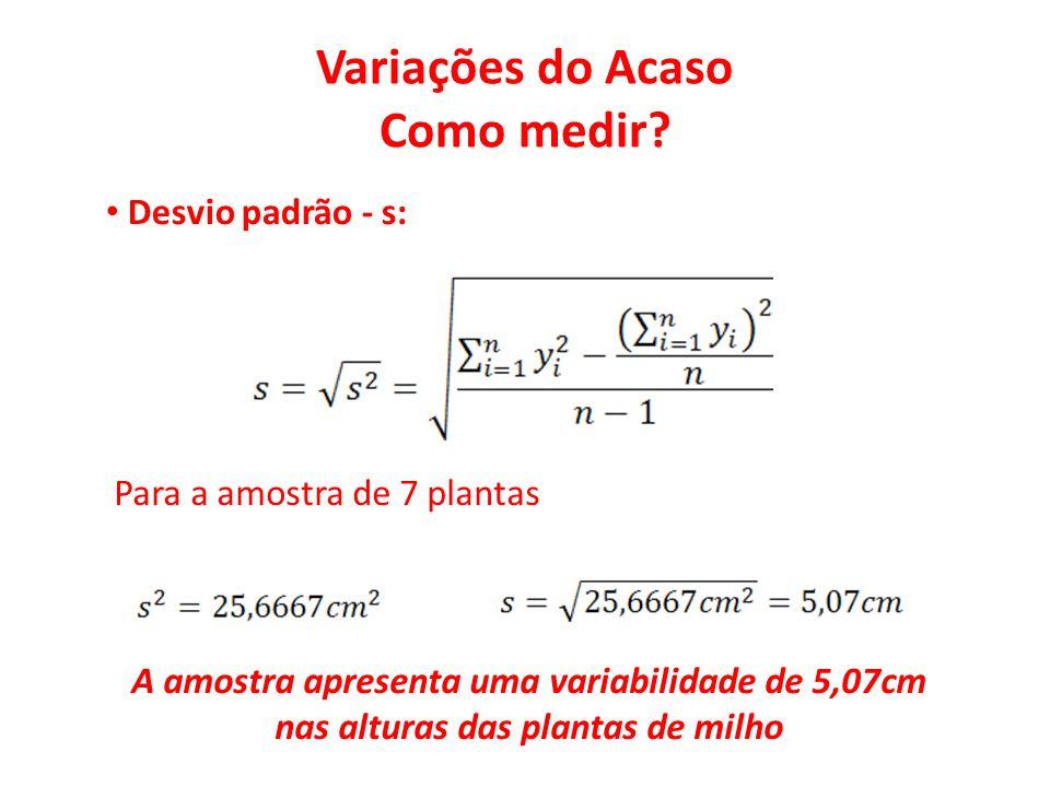 Variações do Acaso Como medir? • Desvio padrão - s: Para a amostra de 7 plantas A amostra apresenta uma variabilidade de 5,07cm nas alturas das planta