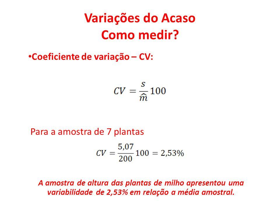 Variações do Acaso Como medir? • Coeficiente de variação – CV: Para a amostra de 7 plantas A amostra de altura das plantas de milho apresentou uma var