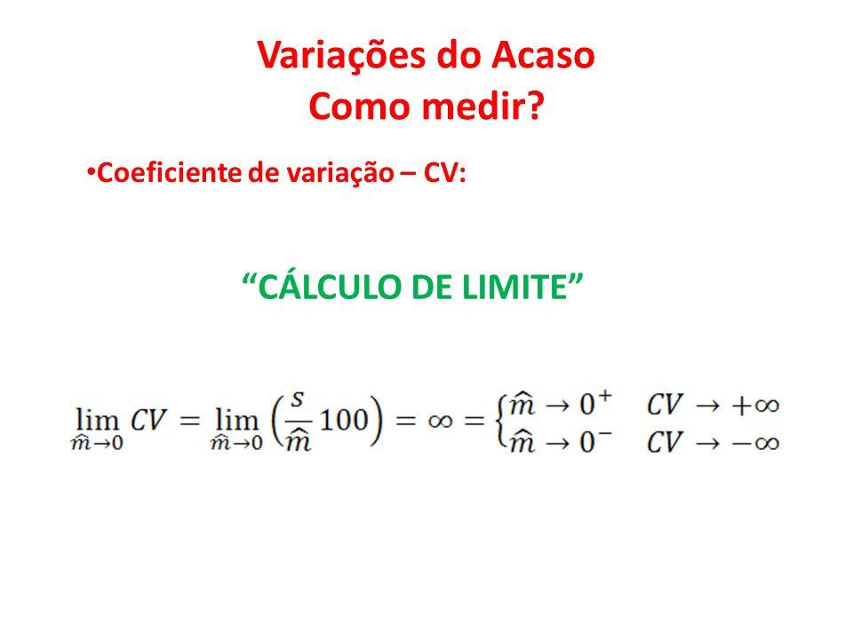 """Variações do Acaso Como medir? • Coeficiente de variação – CV: """"CÁLCULO DE LIMITE"""""""