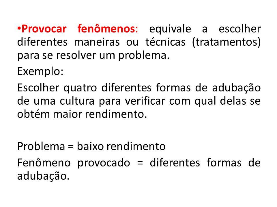 • Provocar fenômenos: equivale a escolher diferentes maneiras ou técnicas (tratamentos) para se resolver um problema. Exemplo: Escolher quatro diferen