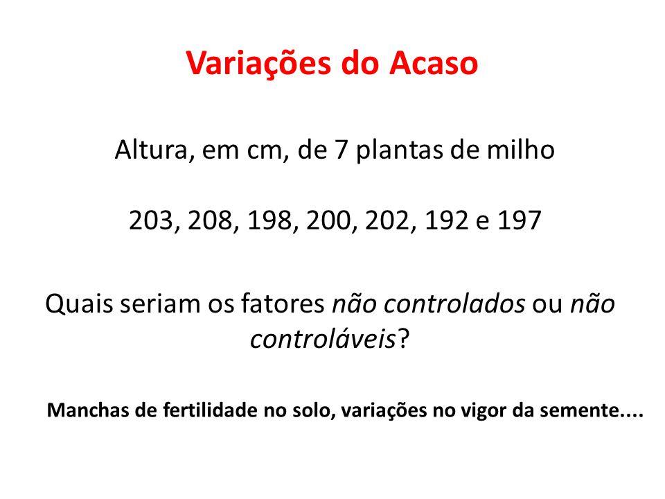 Variações do Acaso Altura, em cm, de 7 plantas de milho 203, 208, 198, 200, 202, 192 e 197 Quais seriam os fatores não controlados ou não controláveis