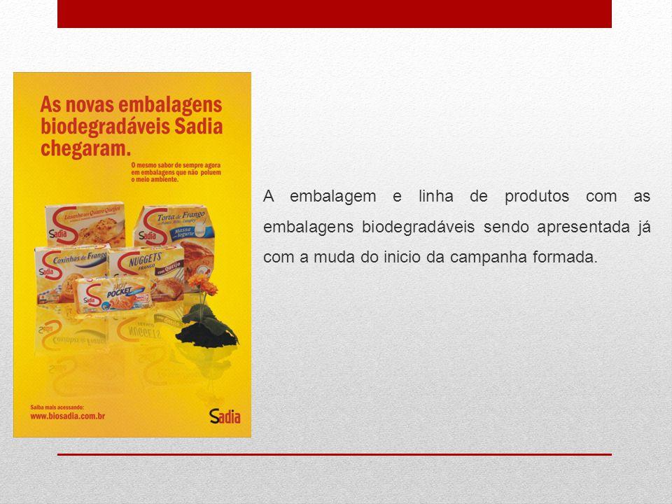 A embalagem e linha de produtos com as embalagens biodegradáveis sendo apresentada já com a muda do inicio da campanha formada.