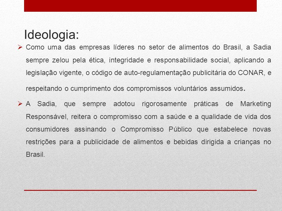 Ideologia:  Como uma das empresas líderes no setor de alimentos do Brasil, a Sadia sempre zelou pela ética, integridade e responsabilidade social, ap