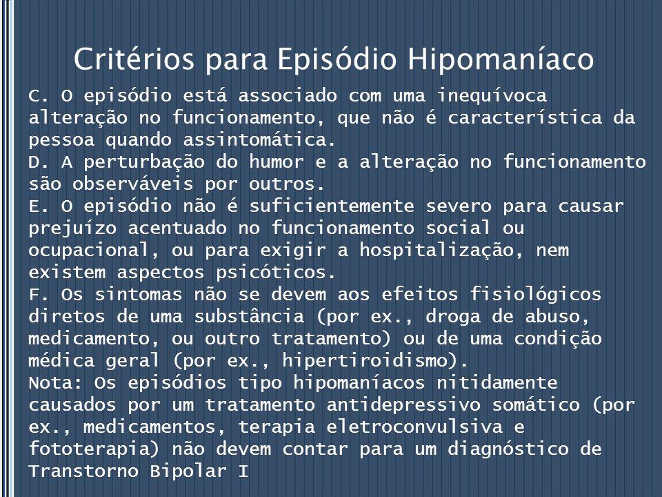 Critérios para Episódio Hipomaníaco C. O episódio está associado com uma inequívoca alteração no funcionamento, que não é característica da pessoa qua