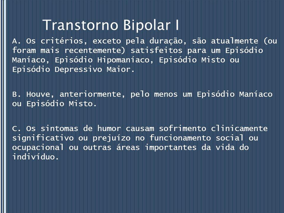 Transtorno Bipolar I A. Os critérios, exceto pela duração, são atualmente (ou foram mais recentemente) satisfeitos para um Episódio Maníaco, Episódio