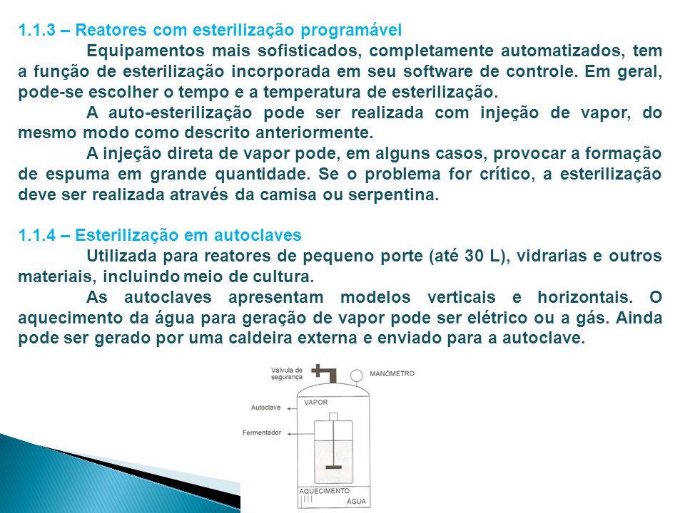 1.1.3 – Reatores com esterilização programável Equipamentos mais sofisticados, completamente automatizados, tem a função de esterilização incorporada