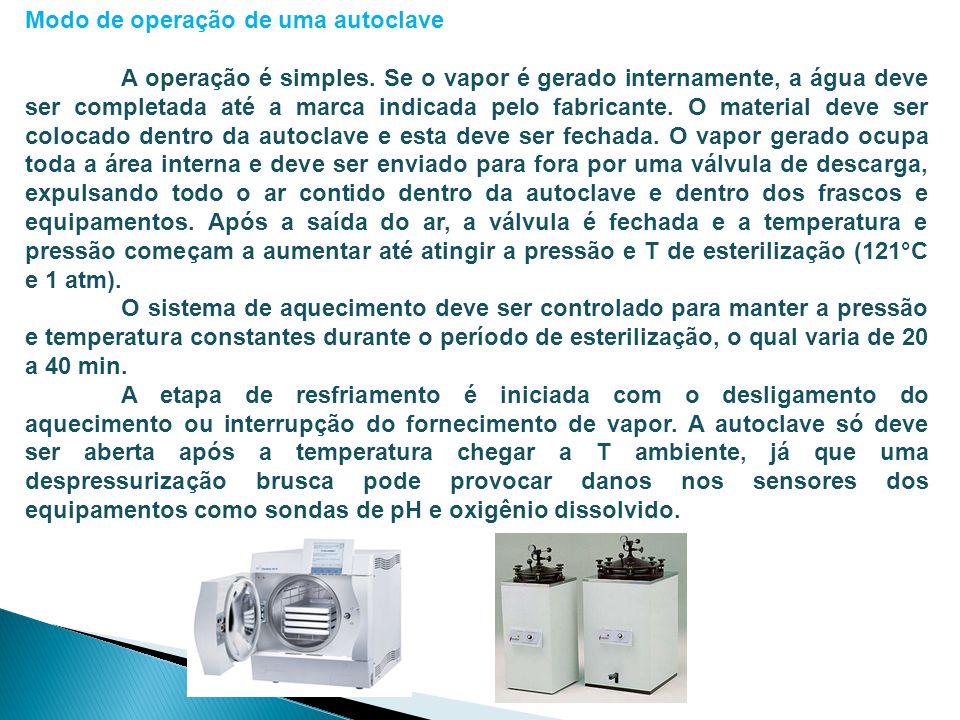Modo de operação de uma autoclave A operação é simples. Se o vapor é gerado internamente, a água deve ser completada até a marca indicada pelo fabrica