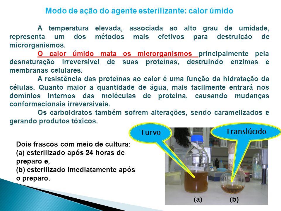 Modo de ação do agente esterilizante: calor úmido A temperatura elevada, associada ao alto grau de umidade, representa um dos métodos mais efetivos pa