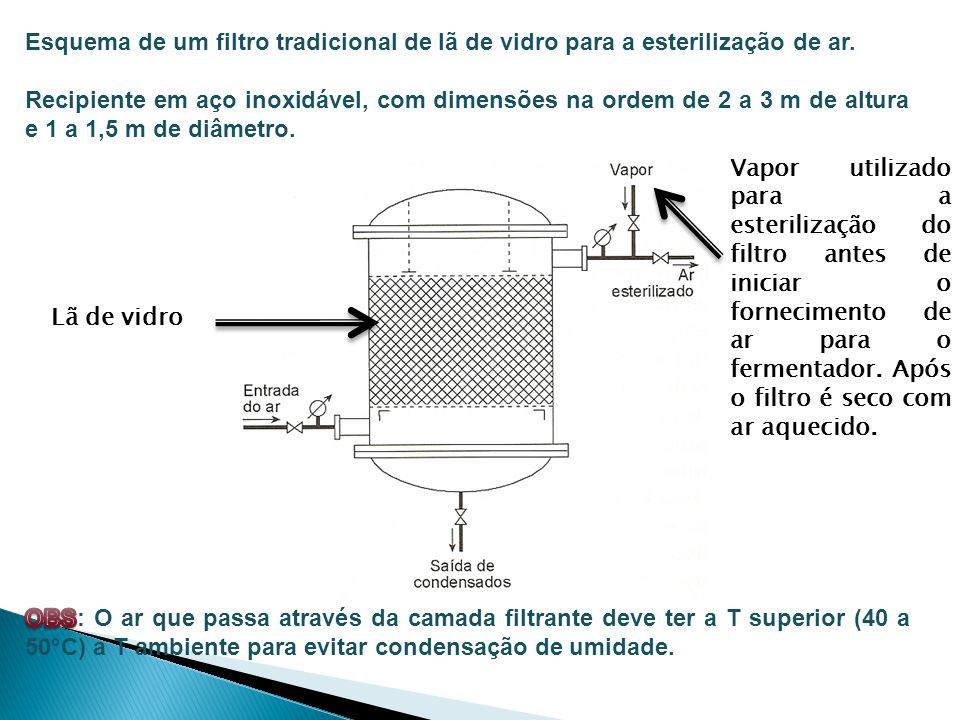 Lã de vidro Vapor utilizado para a esterilização do filtro antes de iniciar o fornecimento de ar para o fermentador. Após o filtro é seco com ar aquec